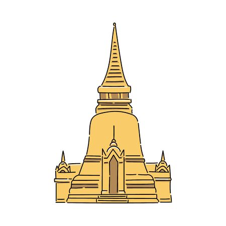 Yellow Thailand temple - flat isolated icon. Tourist travel destination and ancient religious building exterior on white background - vector illustration. 向量圖像