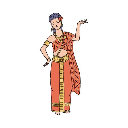 Thailand woman in traditional Thai dress costume performing national dance - isolated female cartoon character standing in dancing position. Flat vector illustration. Stock Illustratie