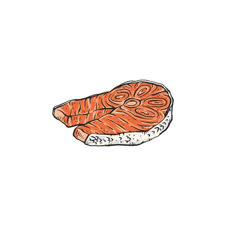 Salmon steak or piece of red fish fillet hand drawn vector illustration in sketch style isolated on white background. Seafood high protein nutrition for ketogenic diet.