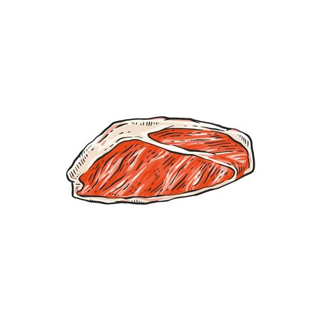 Piece of raw red meat - beef, pork, lamb vector icon in sketch style illustration isolated on white background. Healthy Paleo eating or high protein ketogenic diet. Illustration