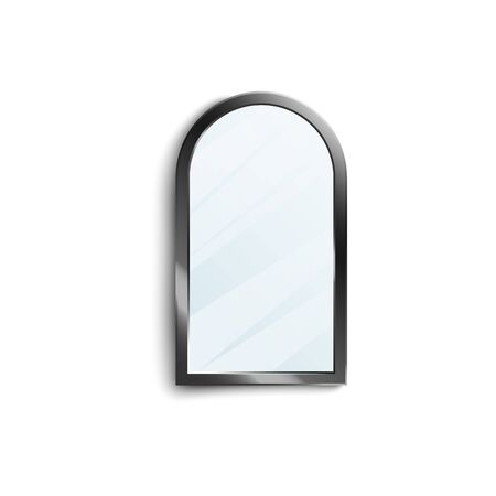 Isolated mirror with black shiny frame isolated on white background - half round oval window shaped interior decoration with glass surface - vector illustration Vetores