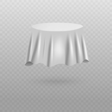 Plain white fabric sheet covering round table shaped object floating in air - isolated mystery item hidden by silk drapery with realistic texture, vector illustration Illustration