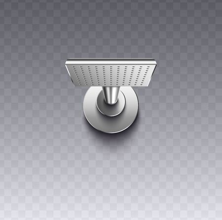 Square wall mount shower head with realistic silver metal texture isolated on transparent background, modern showerhead fixture for bathroom wash - vector illustration.