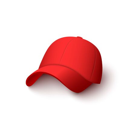 Red cap mockup with realistic cotton texture isolated on white background - baseball hat with 3D shadow for uniform merchandise template - vector illustration.