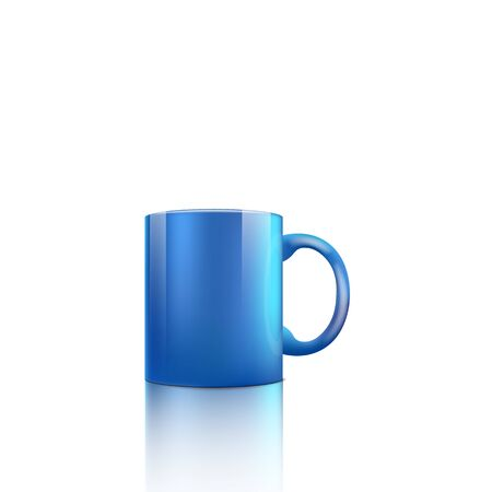 Bright blue cup with glossy realistic surface isolated on white background - realistic mockup of standard classic ceramic cup with handle - vector illustration.