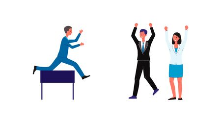 Cartoon businessman jumping over obstacle and office people cheering him on - overcome career challenge metaphor isolated on white background. Flat vector illustration.