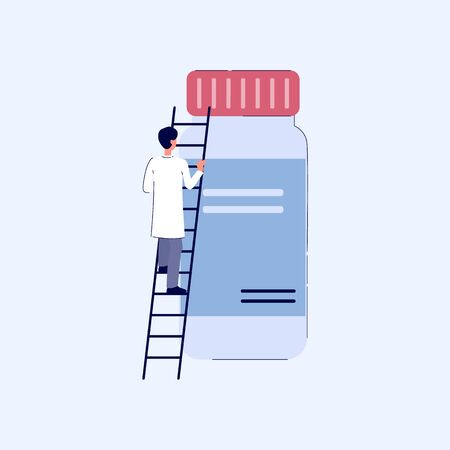 Cartoon pharmacist man climbing a ladder to giant medicine bottle with prescription label isolated on white background - doctor getting pills from big jar - flat vector illustration.