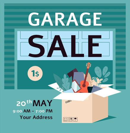 Garage sale ad poster template with flat cartoon box full of stuff standing near garage door - flat cartoon banner with date and location text - vector illustration