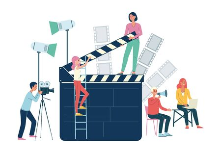 Movie production crew with professional equipment - isolated flat banner of cartoon people around giant clipperboard shooting a scene, vector illustration.