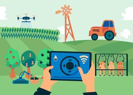Granja inteligente: banner plano de campo de hierba con tecnología de automatización agrícola moderna. Drone de riego volador con aplicación de control, robot de cosecha y otra innovación - ilustración vectorial.