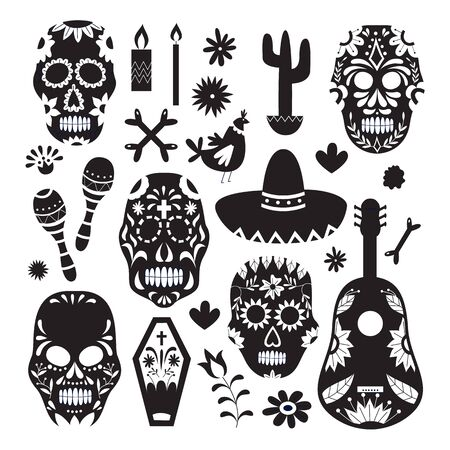 Seamless pattern for Dia de los Muertos with skulls, cactus and guitars, illustration in monochrome graphic design on white background. Day of the Dead texture.