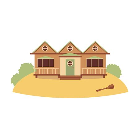 Beach wooden resort house for water activities with boat oars, flat cartoon illustration isolated on white background. Summer recreation, active lifestyle. Ilustração