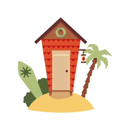 Beach bungalow or guest house for water activities and surfing with surfboard, flat cartoon illustration isolated on white background. Summer active lifestyle.