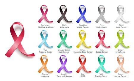Set of realistic 3d icons with ribbons of symbols and signs of diseases and cancer. Pink and red, blue and green ribbons for cancer and disease, vector realistic illustration set. Stok Fotoğraf - 131924515