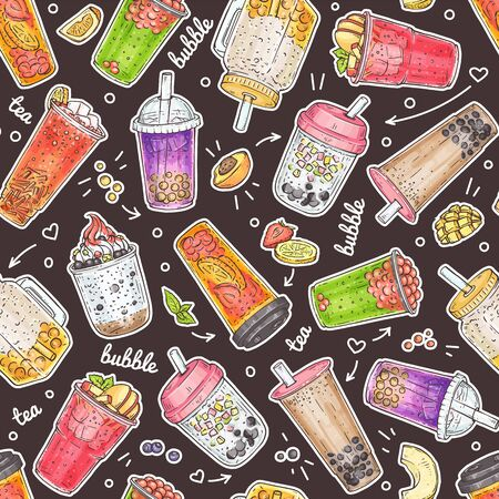 Bubble tea seamless pattern - hand drawn sweet drinks with different boba bubbles and toppings. Colorful beverage set with fruit and ice