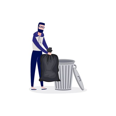 Man throws garbage tied in a huge bag into trash container in landfill flat cartoon vector illustration isolated on white background. Cleaning and tidying up environment.