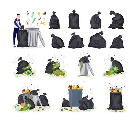 Set of garbage topic items - plastic bags, stinky rubbish and man cartoon character throws garbage into trash can, flat vector illustration isolated on white background.