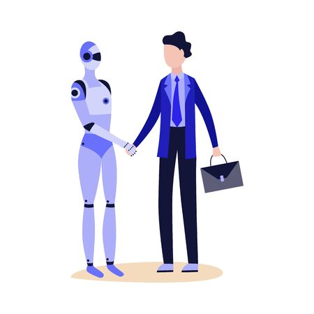 Robot shaking hand to businessman in suit flat cartoon illustration isolated on white background. Advanced technology and artificial intelligence.