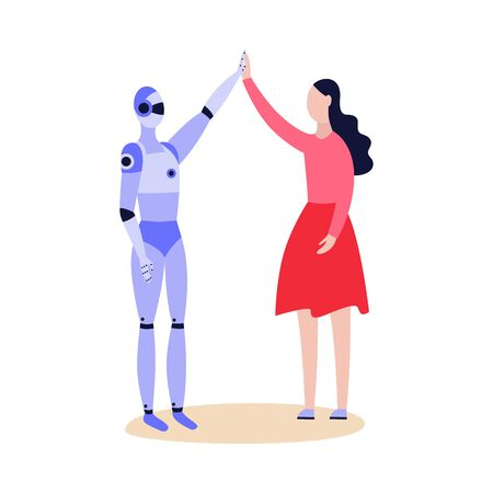 Robot and woman greeting friendly each other and giving five flat cartoon illustration isolated on white background. Artificial intelligence technology.