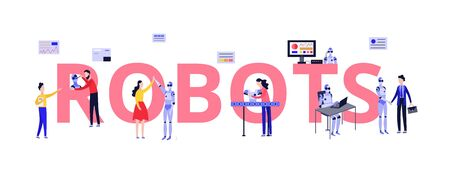 Robots lab with scientists and developer engineers, people cartoon characters invent and design androids, flat illustration isolated on white background.