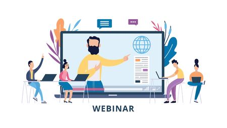 Online conference, webinar or seminar concept with cartoon people characters learning remotely via computer, flat vector illustration isolated on white background. 版權商用圖片 - 131924200