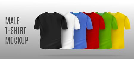 Realistic colorful male t-shirt mockup set in black and white, red and blue, green and yellow colors with blank copy space Ilustração