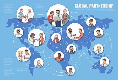 International global partnership concept with business people groups on Earth map background, vector illustration in sketch style. Globalization via modern technologies.