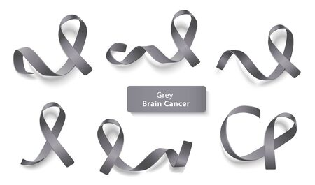 Set of grey curly ribbons and loops realistic style, illustration isolated on white background. Symbol of brain cancer awareness month and solidarity or support sign 版權商用圖片 - 132121103