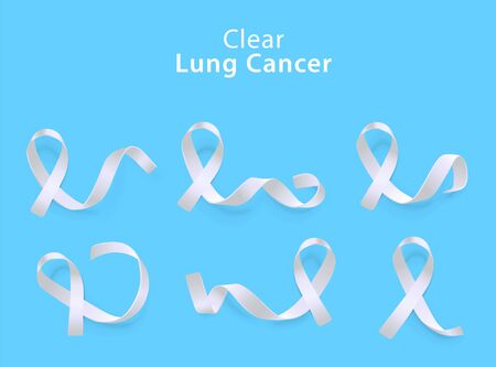 Set of clear white curly ribbons and loops realistic style, illustration isolated on blue background. Symbol of lung cancer awareness month and solidarity or support sign 向量圖像