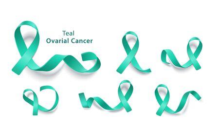 Zestaw turkusowych wstążek na dzień świadomości raka jajnika, zbiór szpilek na cele charytatywne - zbiór ikon na białym tle na białym tle, ilustracji wektorowych