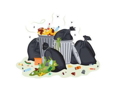 Bolsas de plástico de basura y botes de basura llenos de ilustración de vector de dibujos animados plana de basura apestosa podrida aislada sobre fondo blanco. Contenedores abiertos de desguace sucios.