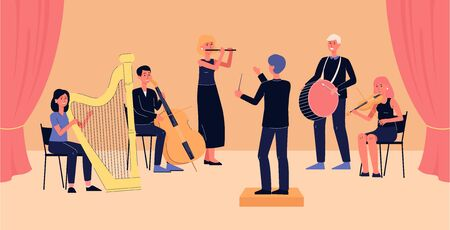 Symphony orchestra banner - cartoon people with musical instruments playing classical music on concert stage while looking at conductor. Flat vector illustration Ilustracja