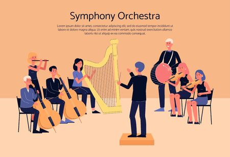 Symphony orchestra musicians playing classical instrumental music on concert stage - cartoon people with musical instruments. Flat banner with text template - vector illustration Иллюстрация