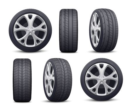 Automobile tires and wheels icons set realistic vector illustration isolated on white background. Rubber car tires in foreshortening for transportation and vehicle topics. Illustration
