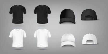 Maquette de t-shirt et de casquette de baseball en noir et blanc vue avant et arrière - collection de modèles de conception réaliste pour les vêtements de mode, illustration vectorielle