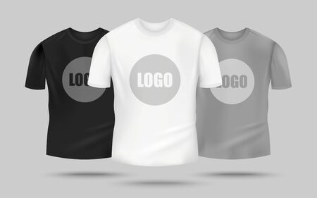 Mens t-shirt mockup set in black, white and grey color with logo template in the center, realistic clothing mock up for merchandise design - vector illustration