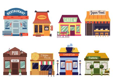 European and Oriental food restaurant buildings facades set of flat vector illustrations isolated on white background. Cafeteria, pub and bistro street food cafes fronts. Illustration