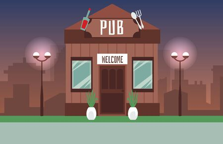 Old style pub wooden building on night modern cityscape background, flat vector illustration. Architecture backdrop with alcohol bar house in street lanterns light.