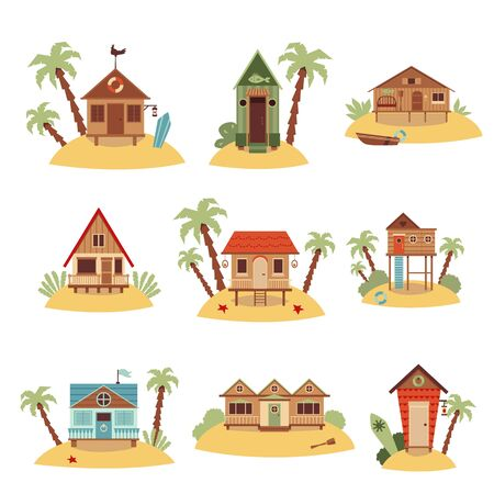 Set of different beach houses with palm trees cartoon illustration isolated on white background.