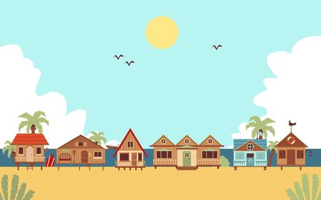 Tropical beach with resort guest houses or bungalows and palms, flat cartoon illustration. Summer seaside vacation background or ocean coast landscape.