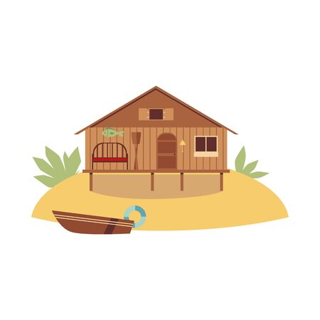 Beach wooden house standing on ocean coast with boat, flat cartoon illustration isolated on white background. Summer vacation, traveling and recreation concept.