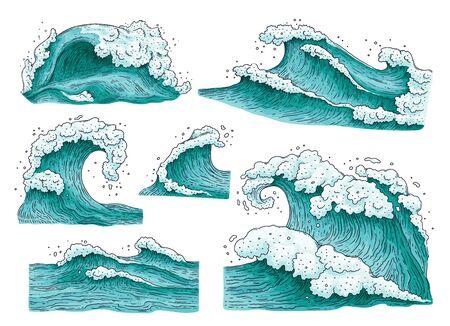 Ensemble de vagues d'eau de mer détaillées dessinées à la main et éclaboussures d'illustrations vectorielles de dessin animé isolées sur fond blanc. Collection d'éléments de vague de surf ou de mer orageuse.