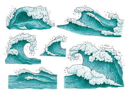 Set hand getrokken gedetailleerde oceaanwater golven en spatten cartoon vectorillustraties geïsoleerd op een witte achtergrond. Surfen golf of stormachtige zee elementen collectie.