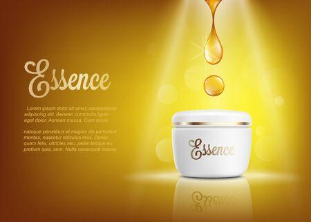 Affiche publicitaire de crème d'essence avec une goutte de liquide doré brillant tombant sur un pot de crème hydratante blanc réaliste debout sur les projecteurs sur fond jaune - illustration vectorielle. Vecteurs