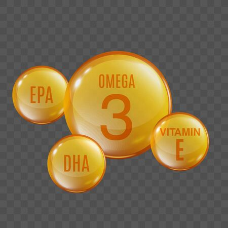 Omega 3 oil - round sphere with small EPA, DHA and vitamin E spheres connected to center circle. Realistic golden yellow oil drop
