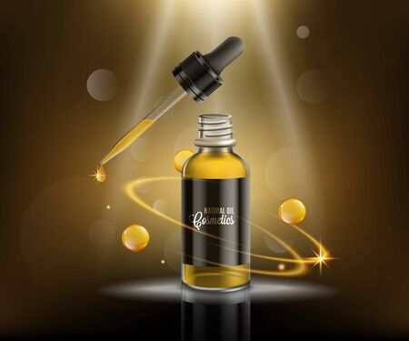Natural oil cosmetic ad poster - glass dropper bottle with golden yellow dripping oil under magic spotlight with glamour bokeh background - vector illustration. Vettoriali