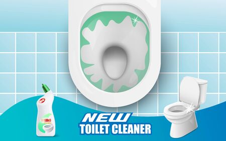 Advertising banner template of new toilet cleaner with lavatory and hygiene detergent bottle, realistic vector illustration. Ready brand design for cleaning products.