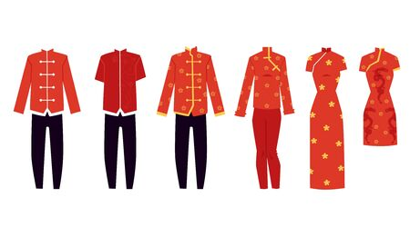 Oriental Chinese festive female and male costumes for holiday New Year ceremony set of flat vector illustrations isolated on white background. Robes, pants and dresses. Ilustrace