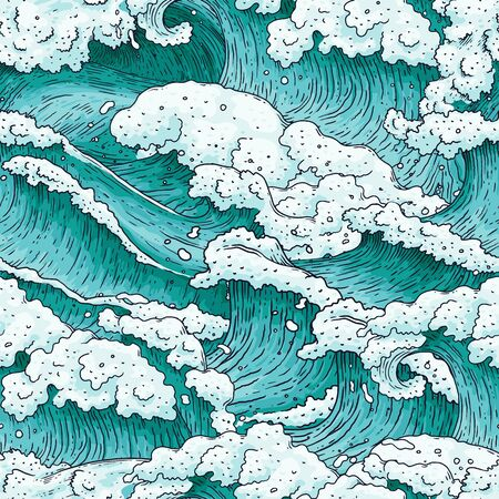 Seamless pattern with hand drawn detailed ocean water waves and splashes cartoon illustration. Endless background texture in engraving style. Ilustração