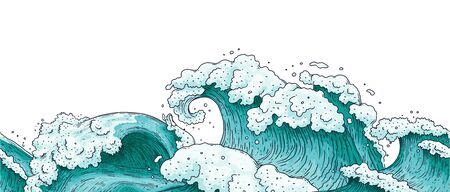 Seamless lower horizontal border with hand drawn detailed ocean water waves and splashes cartoon illustration. Endless edge texture in engraving style.